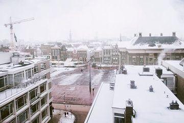 La Grote Markt est recouverte de neige sur