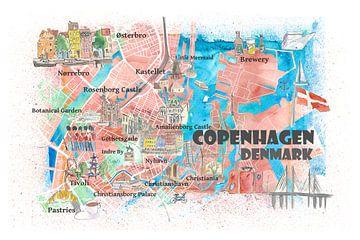 Kopenhagen Denemarken Geïllustreerde kaart met bezienswaardigheden en hoogtepunten van de hoofdwegen van Markus Bleichner