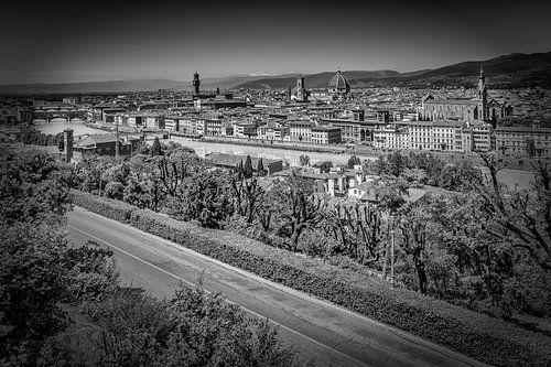FLORENCE View from Piazzale Michelangelo   Monochrome van Melanie Viola