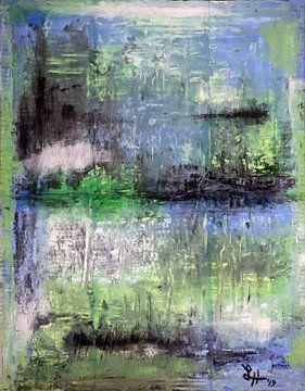 Vierkanten VII in blauw, groen, zwart en wit van elha-Art