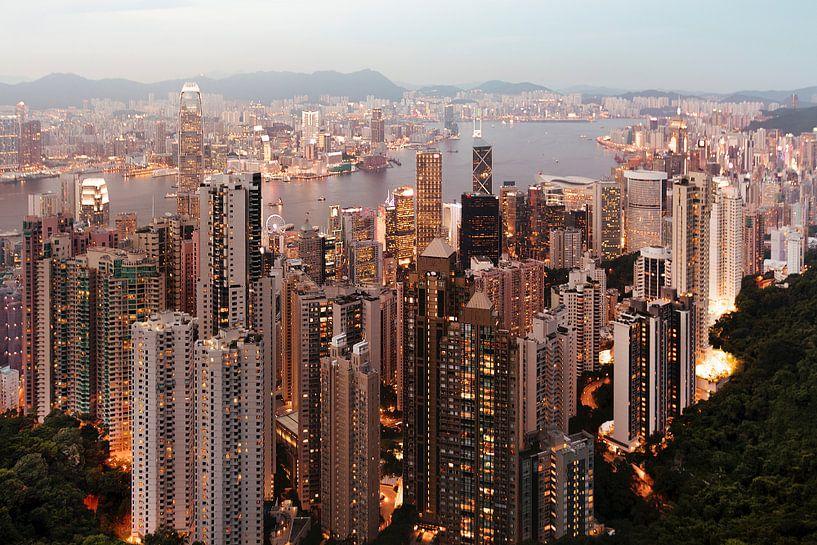 Hong Kong Skyline avond van Claire Droppert