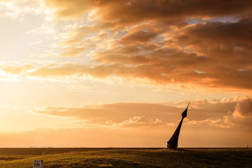 Windroos bij zonsondergang Diptiek (tweeluik met Kiekkaaste  bij zonsondergang) van Anita Meis