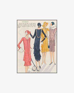 Remarque | Art Deco mode prent | Vriendinnen, hond, hondjes, en fashion | Vintage prent van NOONY