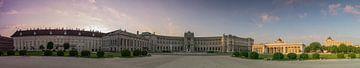 panorama hofburg en bibliotheek wenen met zonsopkomst van