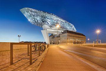 Havenhuis Antwerpen in de schemering van Tony Vingerhoets
