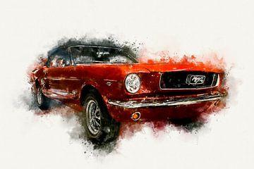 1966 Ford Mustang Cabriolet Zijde Digitaal Schilderij in Waterverf van Andreea Eva Herczegh