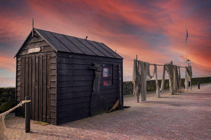 Urk, visnetten,  zonsondergang van Fotografie Arthur van Leeuwen