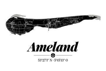 Ameland | Artistieke landkaart | Eilandsilhouet | Zwart en wit van ViaMapia