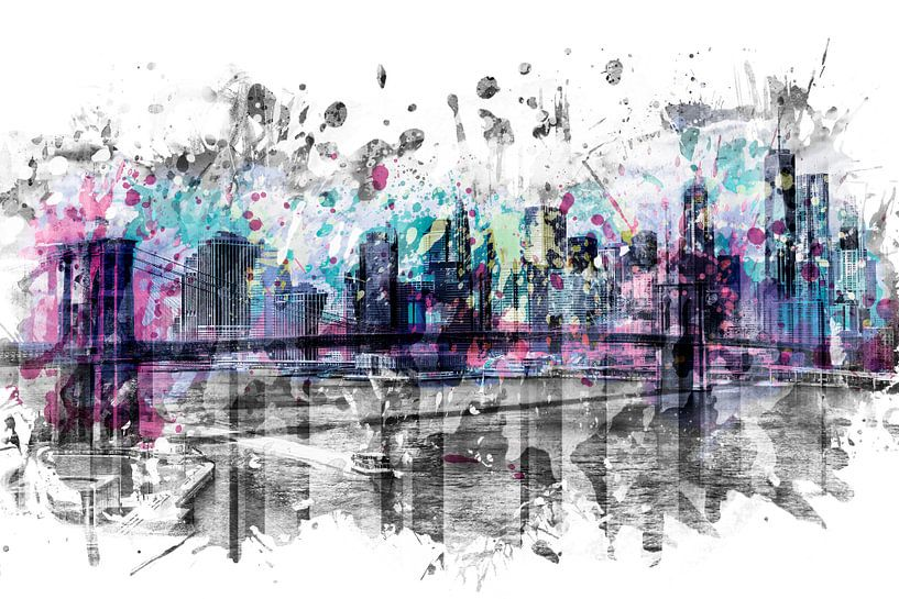 Modern Art NEW YORK CITY Skyline | Spatten  van Melanie Viola