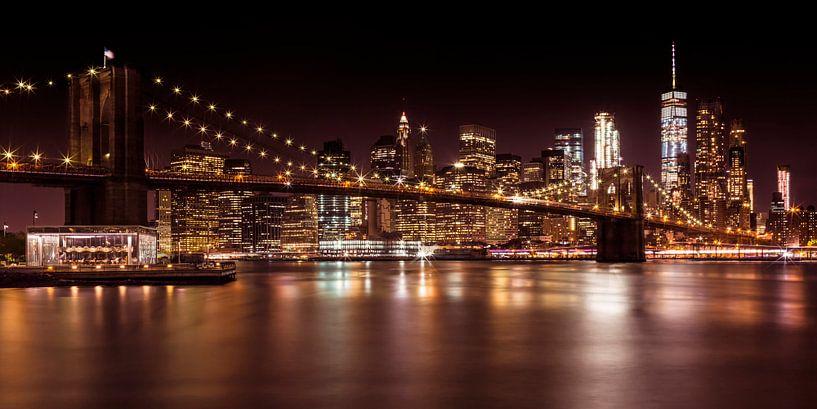 MANHATTAN & BROOKLYN sunset | panorama van Melanie Viola