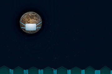 corona maan met mondkap van Jan van den Heuij