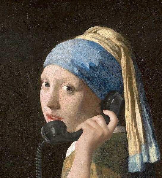 Meisje met telefoon van Jerome Coppo