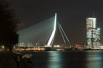 Erasmusbrug bij nacht van Rogier Vermeulen
