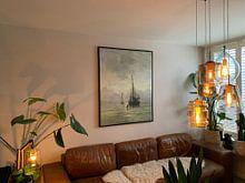 Klantfoto: Schilderij Kalme zee van kunstenaar Mesdag   Schepen schilderijen, op canvas