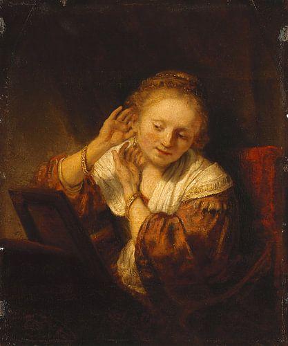 Jonge vrouw met oorbellen, Rembrandt von Meesterlijcke Meesters