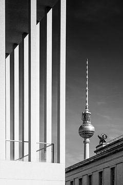 BERLIN Fernsehturm & Museumsinsel | Monochrom von Melanie Viola