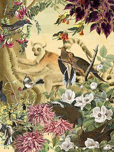 Ringelschwanz-Lemur hinter Vögeln und Blumen