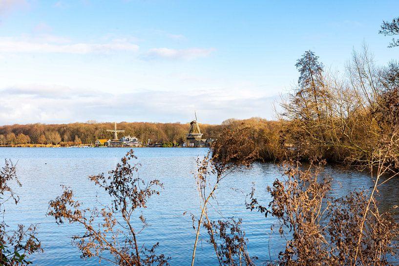 Windmühlen im Winter von Lieselotte Stienstra