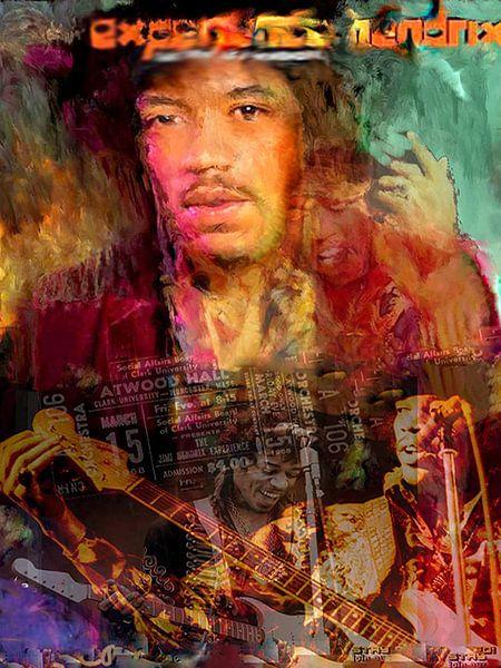 Jimi Hendrix Pop Art Canvas van Leah Devora