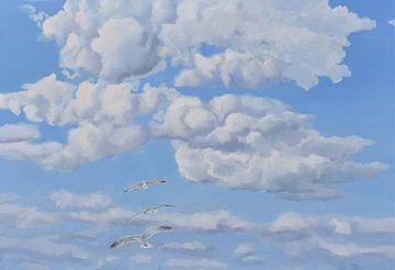 Sommerhimmel mit Möwen von Yvon Schoorl