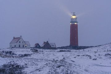 Winter op Texel Vuurtoren Eierland van Texel360Fotografie Richard Heerschap