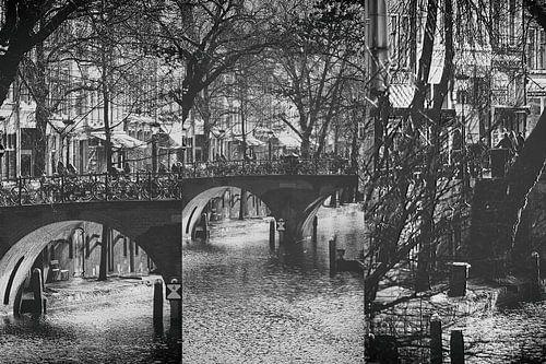 Drieluik van de Oudegracht in Utrecht met de Gaardbrug