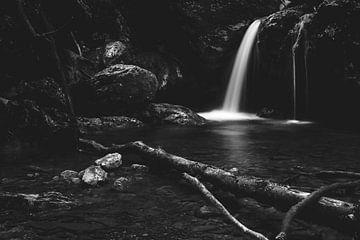 Minimalistische waterval achter gebroken boom in zwart-wit van Patrik Lovrin