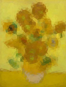 Sonnenblumen durch Vincent van Gogh - niedrige moderne Kunst des Poly von Origami Art