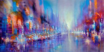 Streetlife: pulserend leven in blauw, violet en oranje