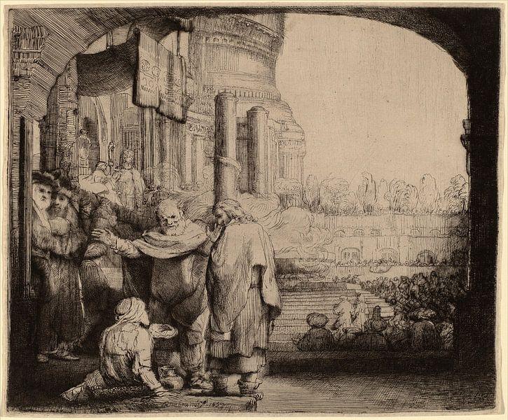 Petrus en Johannes maken de lamme beter bij de Poort van de Tempel van Rembrandt van Rijn