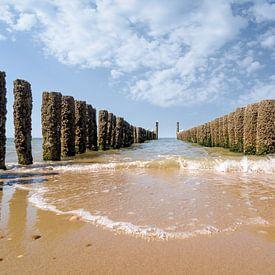 The Breakwaters on the beach of Domburg, Zeeland sur Martijn van der Nat