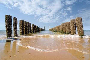Golfbrekers op het strand van Domburg van
