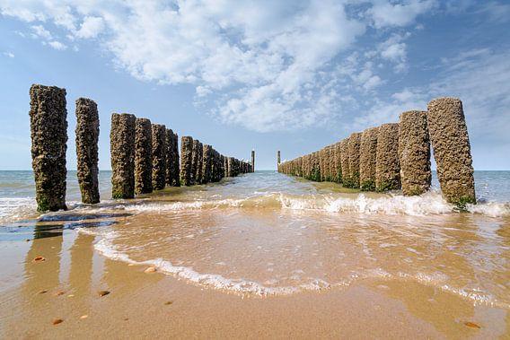 Golfbrekers op het strand van Domburg III van Martijn van der Nat