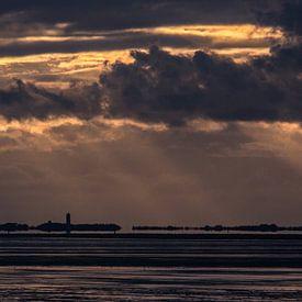 Zonsondergang Waddenzee van Meindert van Dijk