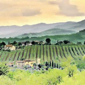 Vivre parmi les vignobles de Toscane en Italie - Peinture sur Schildersatelier van der Ven