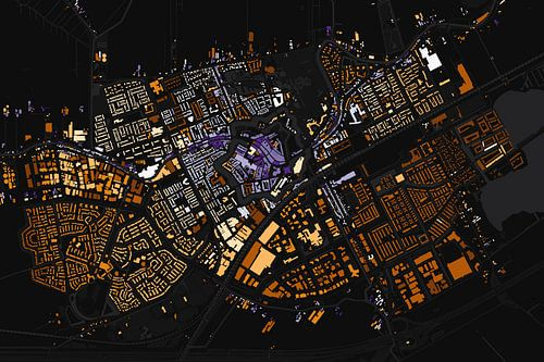 Kaart van Woerden abstract van