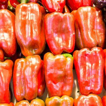 paprika, groene, fruit, markt, rood van Leo van Maanen