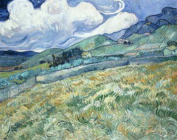Champ de blé avec des montagnes en arrière-plan, Vincent van Gogh