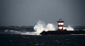 Vuurtoren in zware storm van Heiko Harders