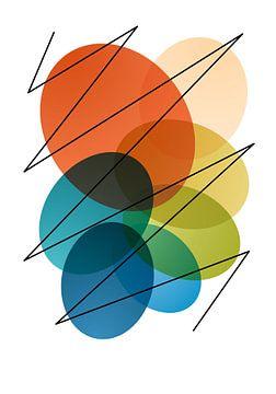 Abstraction géométrique moderne et colorée sur Raymond Wijngaard