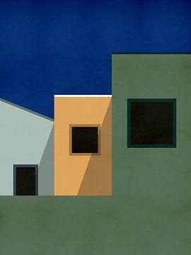 Drie Huizen - Architectuur Illustratie van MDRN HOME