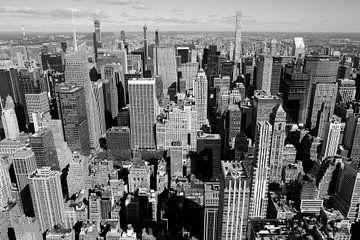 Nord Manhattan vom Empire State Building in schwarz weiss von Ingrid Meuleman