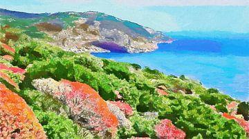 Pastell-Landschaft Bunte Küste Porto Conte Sardinien - Gemälde von Schildersatelier van der Ven