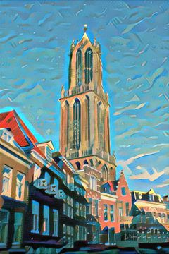 Moderne Illustratie Domtoren Utrecht van Slimme Kunst.nl