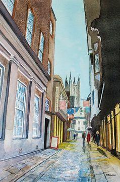 Canterbury - Aquarel schilderij van - Wereldkaarten.shop -