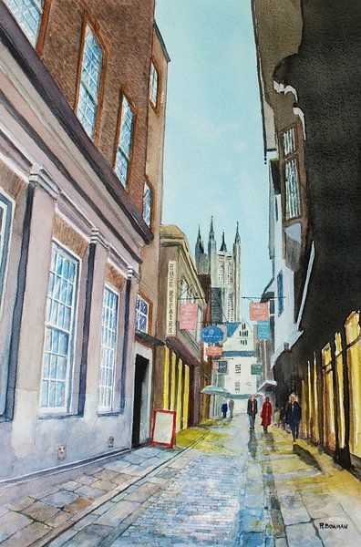 Canterbury - Aquarel schilderij van WatercolorWall
