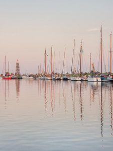 De oude haven van Enkhuizen in het avondlicht
