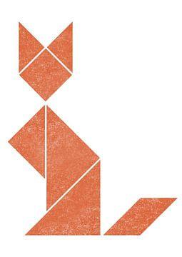 Simplistic tangram fox van Twan Van Keulen
