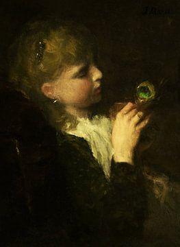 Mädchen mit Pfauenfeder (Digital wiederhergestellt), Jacob Maris von Lars van de Goor