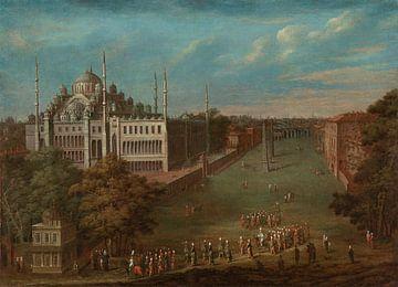 Der große Anblick überquert die Atmeydanı (Hippodrom), Jean Baptiste Vanmour, 1720 - 1737.